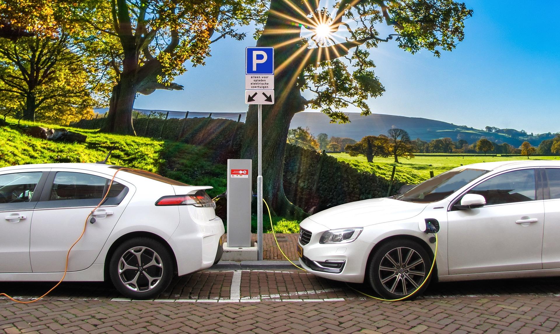 Deux voitures hybrides en train de charge sur une borne électrique